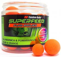 Бойлы Tandem Baits SF Fluo Semi Buoyant Boilies 14mm/18mm Mix 90g Squid & Orange