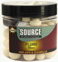 Бойлы Dynamite Baits Fluro Pop-Ups & Dumbells Source White 15mm