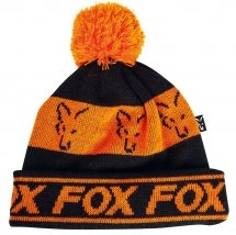 Шапка Fox  black / orange lined bobble